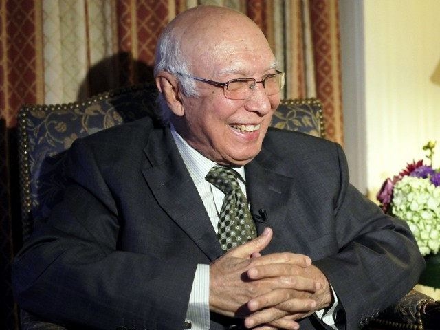 Sartaj Aziz says nation needs to be united to tackle its challenges, including LoC skirmishes.  PHOTO: REUTERS