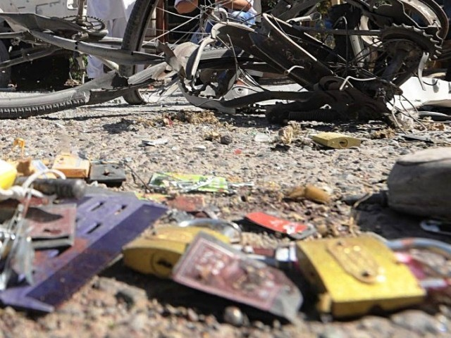 A file photo of a blast. Wednesday's blast in Bajaur left the driver of a van injured. PHOTO: AFP