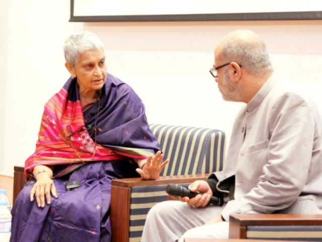 Professor Gayatri Spivak talks to Dr Nauman Naqvi at the Habib University's Second Postcolonial Higher Education Conference on Saturday. PHOTO: EXPRESS