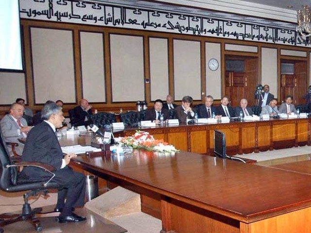 Finance Minister Ishaq Dar chairing the Donors Conference in Islamabad on Tuesday. PHOTO: PID