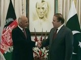 Express News screengrab of Dr Ashraf Ghani and PM Nawaz at the premier's residence.