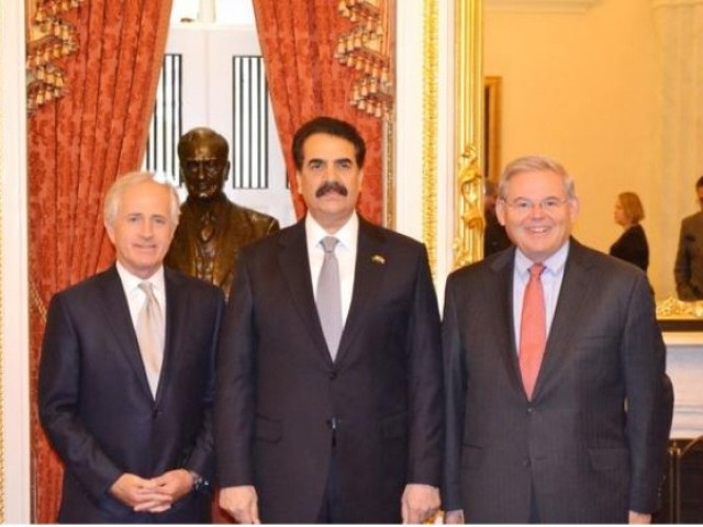 Members of Senate Foreign Relations Committee with Chief of Army Staff, General Raheel Sharif. PHOTO: ISPR