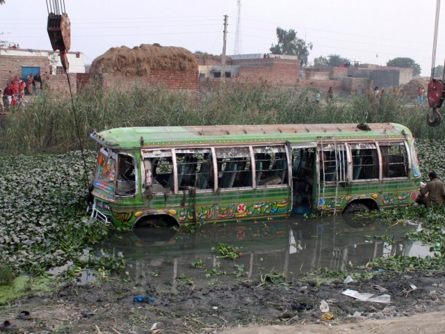 Jam Sajjad of Rescue 1122 said the bus was carrying over 60 students and teachers. PHOTO: ZAHOORUL HAQ/EXPRESS
