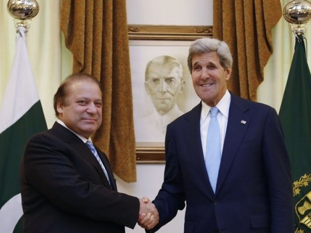 US Secretary of State John Kerry (R) shakes hands with Pakistan's Prime Minister Nawaz Sharif in Islamabad on August 1, 2013. PHOTO: AFP