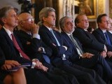 British Foreign Secretary Philip Hammond, (L) US Secretary of State John Kerry, (3rd L) Afghanistan's Chief Executive Officer Abdullah Abdullah, (4th L) Pakistan's Prime Minister Nawaz Sharif (5th L) and British Prime Minister David Cameron (6th L) listen as Afghanistan's President Ashraf Ghani speaks during the London Conference on Afghanistan, in central London, on Decmeber 4, 2014. PHOTO: AFP