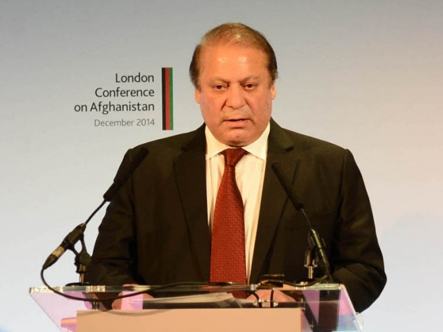Prime Minister Nawaz Sharif addressing the London Conference on Afghanistan in London. PHOTO: PID