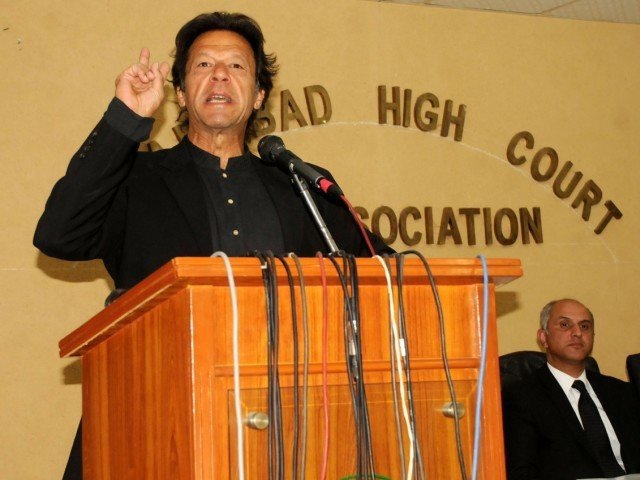 """There must be investigations by a powerful judicial commission comprising independent judges of the Supreme Court within the given time frame,"" said Imran Khan. PHOTO: WASEEM NAZIR/EXPRESS"