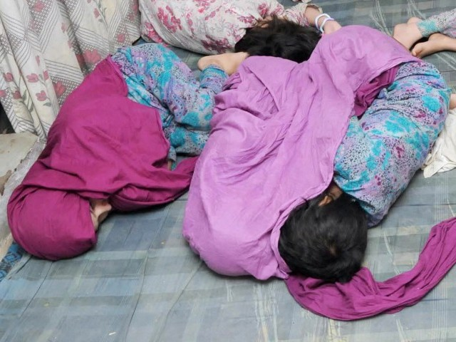 A file photo of the girls recovered from a house in Karachi. PHOTO: MOHAMMAD NOMAN/EXPRESS
