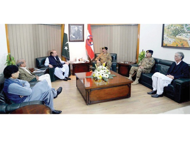 PM Nawaz Sharif meets Army Chief General Raheel Sharif in Peshawar. PHOTO: ONLINE