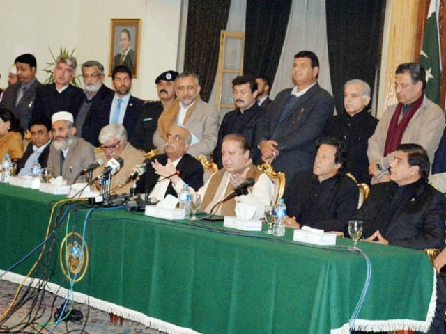 Prime Minister Nawaz Sharif addressing a press conference after the all parties conference. PHOTO: PID