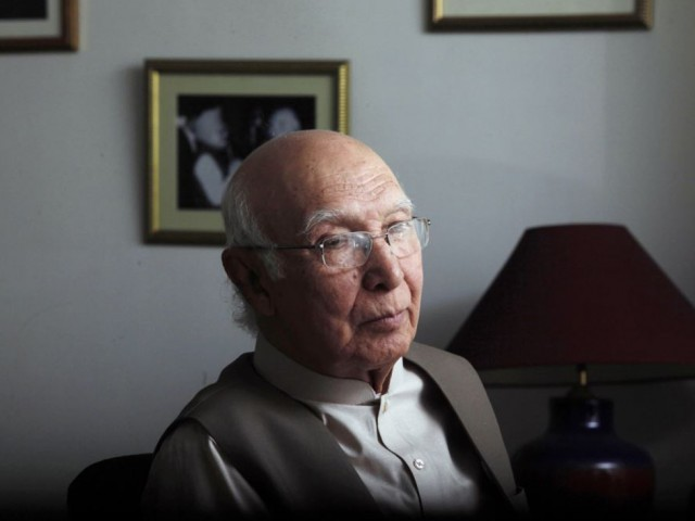 Prime Minister's Adviser on National Security and Foreign Affairs Sartaj  Aziz. PHOTO: REUTERS