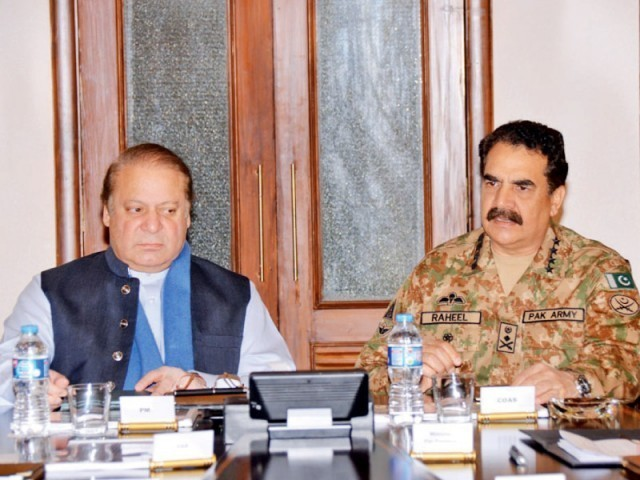 PM Nawaz Sharif meets Gen Raheel Sharif in Rawalpindi. PHOTO: PID