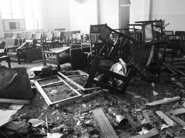 A file photo of one of the rooms destroyed during militant attack on APS. PHOTO: MUHAMMAD IQBAL/EXPRESS