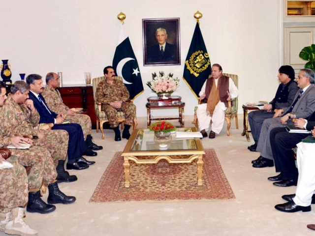 Prime Minister Nawaz Sharif chairing a meeting on counter terrorism at PM House in Islamabad. PHOTO: PID