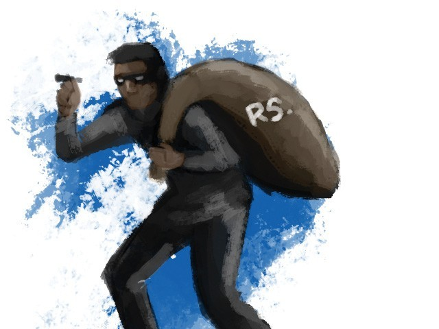 The victim was about to enter his house when four armed robbers including a woman intercepted him at the main gate and snatched his bag containing Rs7,000 cash, foreign currency worth Rs300,000STOCK IMAGE