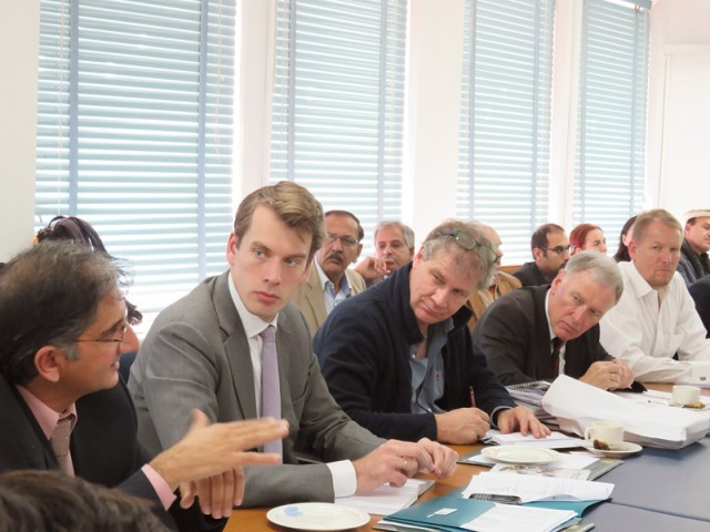 The Dutch delegation holds meeting with ministry of planning officials to share ideas for flood management. PHOTO: EXPRESS