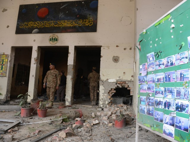 TTP militants ruthlessly attacked the school, killing 150 people. PHOTO: AFP