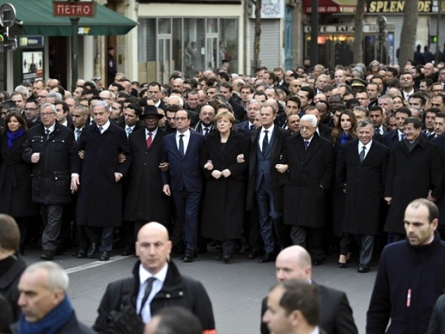 "Heads of state take part in a Unity rally ""Marche Republicaine"" on January 11, 2015 in Paris. PHOTO: AFP"