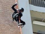 A policeman rappels during training in Nowshera,  Khyber Pakhtunkhwa. PHOTO: AFP