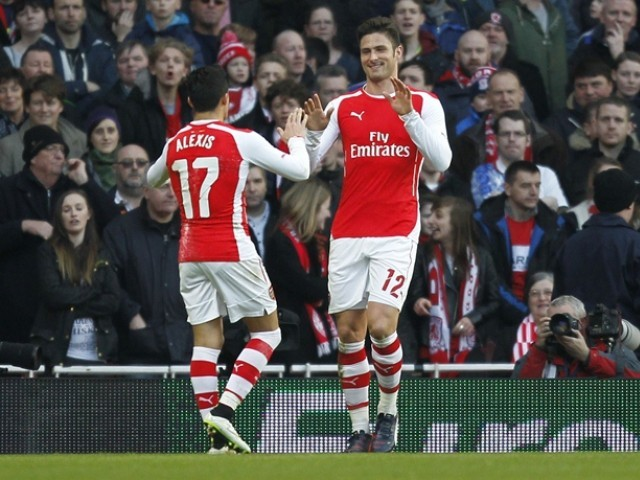 Giroud hit two goals in two minutes just before the half hour, with Wenger especially pleased with the manner of the goals. PHOTO: AFP