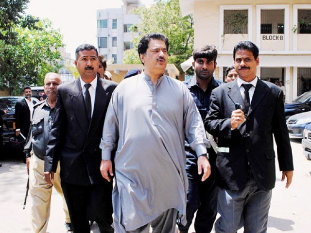 A file photo of Gabol arriving at the city court in Karachi. PHOTO: ONLINE