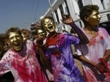 Boys with colored faces celebrate holi, the Festival of Colours, in Kathmandu March 26, 2013. PHOTO: REUTERS