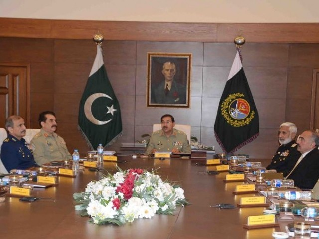 The meeting of the Joint Chiefs of Staff Committee, presided over by Chairman Joint Chiefs of Staff Committee General Rashad Mahmood, was held at the Joint Staff Headquarters in Rawalpindi. PHOTO: ispr.gov.pk