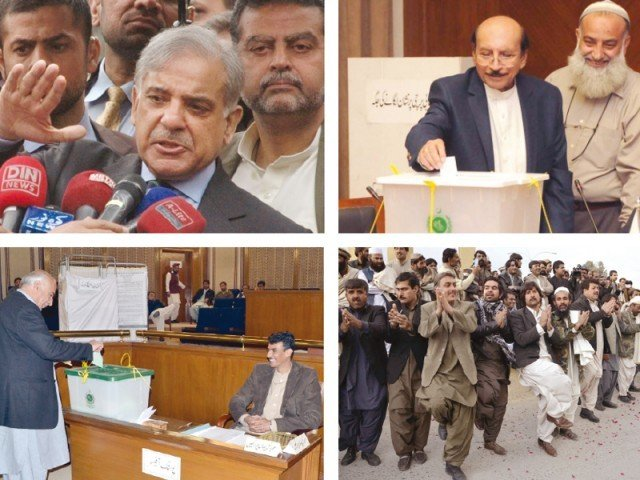 Punjab CM Shahbaz Sharif talks to media after casting his vote, Sindh CM Qaim Ali Shah, Balochistan CM Abdul Malik Baloch cast their votes, while supporters of MPA Usman Kakar dance to rejoice his victory in Senate elections. PHOTOS: EXPRESS/AGENCIES