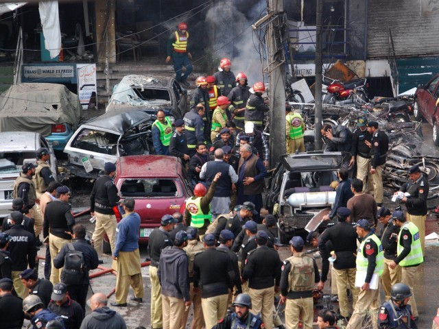 The bomber had struck just metres away from the entrance of Police Lines on Empress Road in the heart of the city. PHOTO: RIAZ AHMED/EXPRESS
