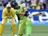 Pakistan's batsman Misbah-ul-Haq (R) play a shot during the 2015 Cricket World Cup quarter-final match between Pakistan and Australia at the Adelaide Oval on March 20, 2015. PHOTO: AFP