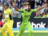 Paceman Sohail Khan shouts a successful leg before wicket against Australia's Aaron Finch (L) during the 2015 Cricket World Cup quarter-final match between Pakistan and Australia at the Adelaide Oval on March 20, 2015. PHOTO: AFP