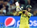 Australia's batsman Glenn Maxwell plays a shot in the air off Pakistan's paceman Wahab Riaz (not pictured) during the 2015 Cricket World Cup quarter-final match between Pakistan and Australia at the Adelaide Oval on March 20, 2015. PHOTO: AFP