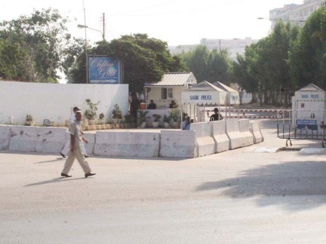 Road towards Bilawal House in Karachi, has been blocked for years now. PHOTO: PPI