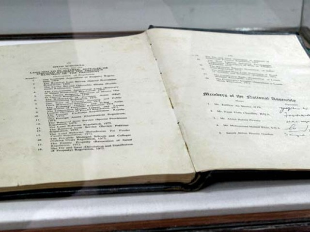 The National Museum of Pakistan, Karachi, is displaying the original copy of the 1973 Constitution of Pakistan, bearing the signatures of the members of the then National Assembly who signed it. PHOTO: AYSHA SALEEM/EXPRESS