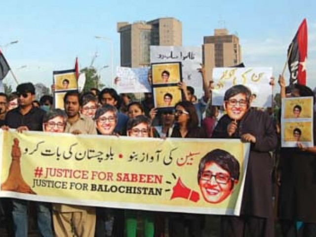 The protesters vowed to continue Sabeen's work and raised their voice against state oppression in Balochistan. PHOTO: EXPRESS