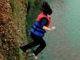 A girl dives off a cliff near Khanpur Lake. PHOTO COURTESY: HUMA CHOUDHARY