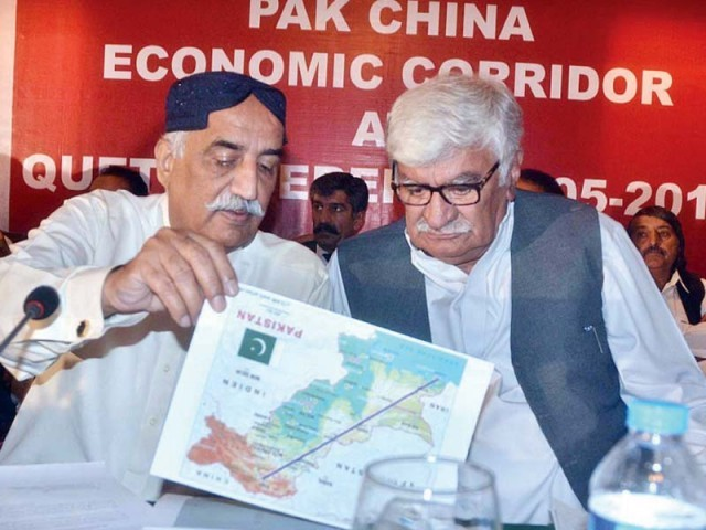 ANP chief Asfandyar Wali and Leader of Opposition in National Assembly Khursheed Shah discus the Pak China Economic Corridor route alignment. PHOTO: APP
