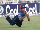 Taken! Dolphins fielder plays his role in sending back the batsman to pavilion. PHOTO MALIK SHAFIQ/EXPRESS