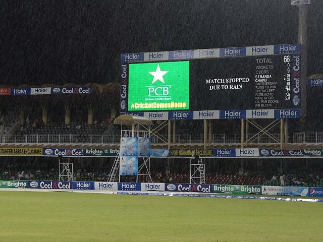 Rain had the last laugh in the final ODI between Pakistan and Zimbabwe. PHOTO: SHAFIQ MALIK/ EXPRESS