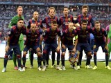 Barcelona team ready right before the match, posing for a team photo at UEFA Champions League Final football match. PHOTO: AFP