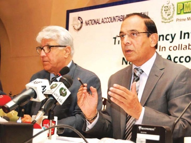 NAB chief Qamar Zaman at the seminar organised by Transparency International Pakistan. PHOTO: ONLINE