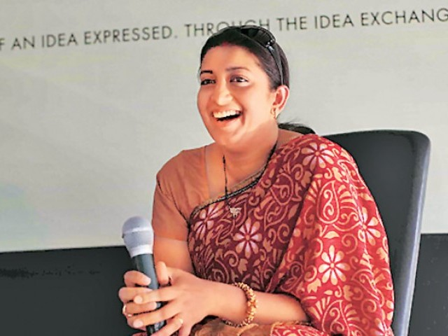 Indian Education Minister Smriti Irani. PHOTO COURTESY: THE INDIAN EXPRESS