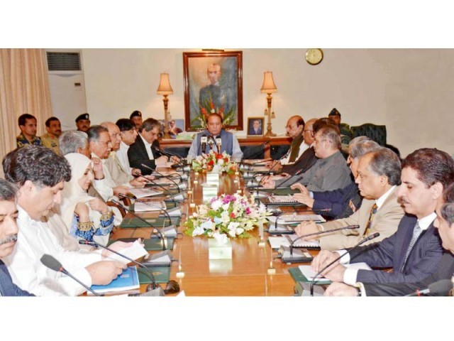 PM Nawaz chairs a meeting at the Sindh CM House. PHOTO: PPI