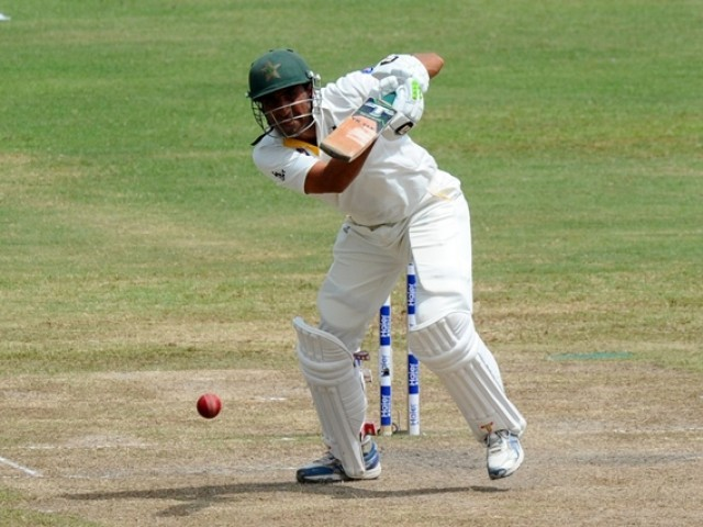 Pakistan cricketer Younis Khan plays a shot during the fourth day of the third and final Test cricket match between Sri Lanka and Pakistan at the Pallekele International Cricket Stadium in Pallekele on July 6, 2015. PHOTO: AFP