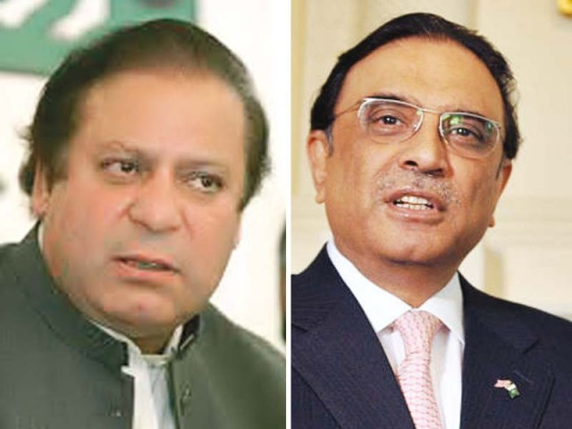 PM Nawaz Sharif and Asif Ali Zardari. PHOTO: FILE