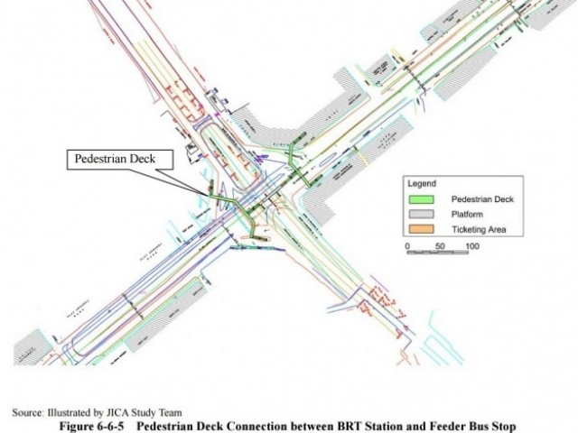 This 2012 illustration showing a possible intersection design for the Green line was rendered by the Japanese International Cooperation Agency which prepared the Karachi mass transit plan after extensive surveys. Source: JICA