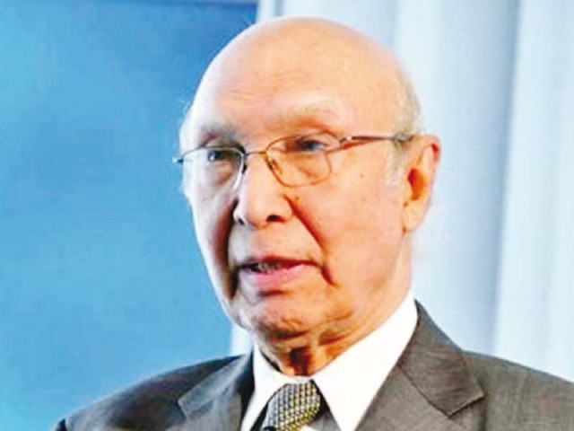 Sartaj Aziz. PHOTO: FILE