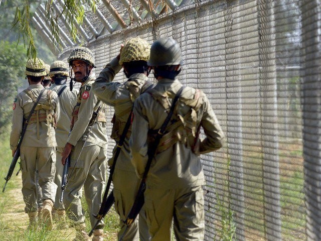 Pakistani security forces seen along the LoC. PHOTO: AFP