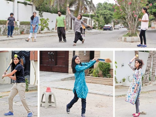 Fifteen young girls came out to play cricket on a street in Defence Housing Authority. This is part of the 'Girls at Dhabas' social media movement and the girls hope to host more matches in the future. PHOTOS: AYSHA SALEEM/EXPRESS