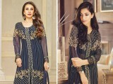 Maria B's Mbroidered collection worn by model Rubab Ali (right) and the design for AA Fabrics featuring Karisma Kapoor (left). PHOTOS: PUBLICITY